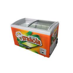 商用デュアルカーブスライドガラスドアチェストアイスクリームディスプレイ 冷凍冷蔵庫 SD/ SC-308y