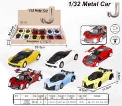 1:32 어린이용 장난감 차를 위한 사운드 및 조명이 있는 알로이 풀백 시뮬레이션 스포츠카 모델(디스플레이 박스