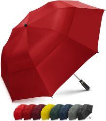 Ombrello piegante con il grande doppio baldacchino scaricato antivento - forte ombrello portatile surdimensionato di golf della famiglia - pieghevole ad appena 23 pollici