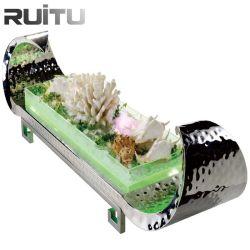 Forma de barco contra martelado LED decorativa Bar Refrigerador Buffet de marisco fresco sushi salada de armazenamento de alimentos Suporte balde de gelo Equipamento Buffet Frios Exibir