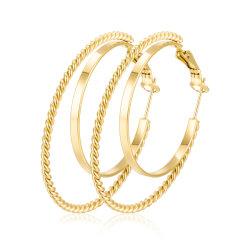 형식 숙녀 여자의 보석 두 배 큰 여자를 위한 금에 의하여 도금되는 스테인리스 굴렁쇠 귀걸이