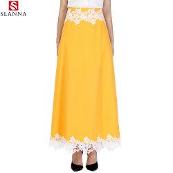 Elegante gelbe lange Lace-up beiläufige Frauen-Fußleisten mit Futter