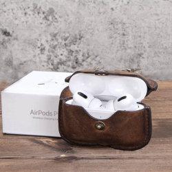 Commerce de gros de luxe Voyage Portable Cuir de vache pour couvercle de boîtier de l'écouteur Airpods 3 nouvelle conception en cuir pour le cas Airpods PRO