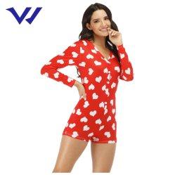 Camicia stampata Heart-Shaped della casa della molla delle donne degli indumenti da notte di notte delle donne degli indumenti da notte delle donne di alta qualità e della tuta di estate