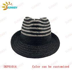 2021 مجموعة جديدة أفضل البائع الحصري أزياء جديدة الطراز الصيف Beach Black Raffis الأنيق والعادي Braid Grey Band Fedora Jazz غطاء قبعة