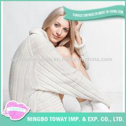 Suéter largo hecho a mano de lana del algodón de las señoras del precio bajo