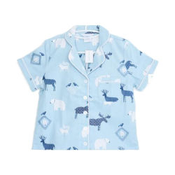 Short Sleeve Pajamas der Baumwolle gedruckten Form-Shirt-Flanell-Dame
