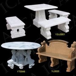 Banc de marbre de jardin, jardin Table de pierre (YSU0001, YT0048, YL0020)