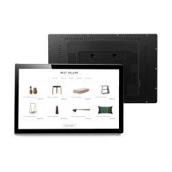 Montage mural kiosque numérique de la publicité de joueur tablet PC tout en un panneau tactile 27 pouces LCD avec châssis en métal