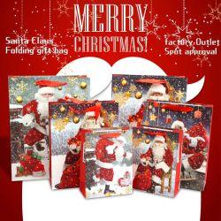 Weihnachten Santa Bereit Lager Hand Geschenk Verpackung Papier Einkaufstasche