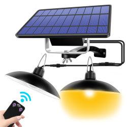Doble Cabeza de la luz colgante Solar Outdoor Indoor Lámpara Solar con la línea en blanco y blanco cálido de iluminación para jardín en casa de camping