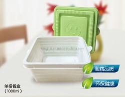 1000ml recipiente quadrado biodegradáveis recipientes alimentares separado tampa com Hl-Bo0011