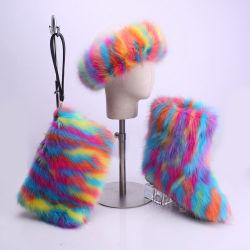 Comercio al por mayor de moda de invierno botas de pieles de arcoiris juegos para niños y niñas de las mujeres con sombrero de diadema de piel