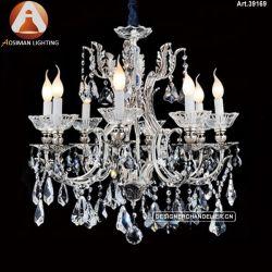 8明確な水晶が付いている軽く旧式な蝋燭ランプ