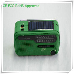 La mejor mano de emergencia radio portátil Solar Linterna dinamo cargador de teléfono móvil