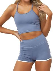 Jeu d'entraînement de la femme en deux pièces de vêtements d'entraînement Taille haute usure Yoga