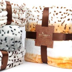 Leopard Design 100%polyester Super impression hauteur Poids flanelle chaude couverture en laine polaire