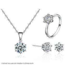 Mode bijoux ensembles Zircon cubes 925 Sterling Silver Necklaces Earrings