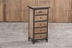 Vintage estilo rústico, muebles antiguos reclamado ocasionales naturales de madera de abeto Metal rústico 5 Cajones pecho