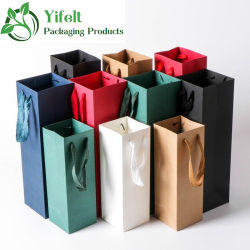 Eco-Friendly luxo personalizado Impressão de logotipo Foil carimbo vermelho embalagem garrafa de vinho de embarcações de papel bag com pega