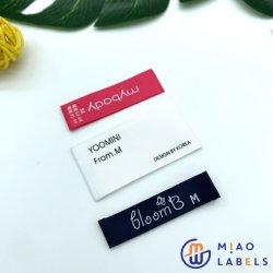 Design personalizado logo Satin/algodão/poliéster estampado tecido entrançado etiquetas para vestuário/boné/sacos/calçado
