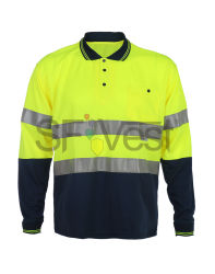 Оптовая торговля высокая видимость безопасности отражает длинной втулки Workwear Поло Tshirt