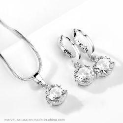 水晶銀製カラーネックレスのスタッドの低下イヤリングの結婚式の宝石類セット