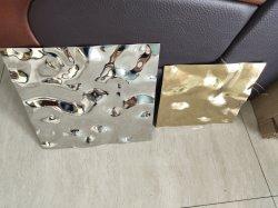 Rizado de agua de la hoja de acero inoxidable acabado espejo panel decorativo gofrado