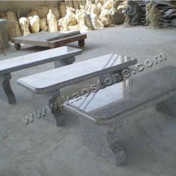 Jardin d'aménagement paysager banc de pierre grise