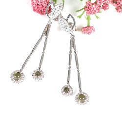 Le gocce dell'orecchio dei fogli colorate lapida l'orecchino lungo di festival di bambù d'argento dei monili 925