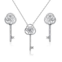 2019 Bisutería plata esterlina 925 Tipo de clave de la boda al por mayor de circón Conjunto de joyas de la mujer