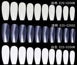 Alta calidad al por mayor Oval Clear Long False Nail Tips Prensa En Nail (E25-C200)