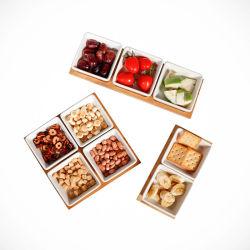 Настраиваемые белый высокая температура керамические пластины с ужином с деревянной пластины