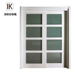 Белый лакированная окрашенные восемь 8 Lite стеклянной панели вставьте двойные листьев сдвижной двери