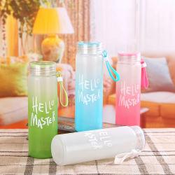 2020 Amérique européenne UK Hot Sale sans BPA large bouche chanter mur forme cylindrique bouteille d'eau en verre de boissons en bouteilles avec gaine en nylon pour la décoration de vacances 480ml
