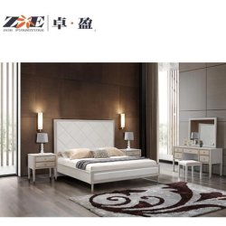 Diseño de madera maciza en color crema y oro de la clase alta Habitación muebles