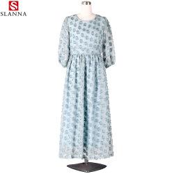 Голубой твердых длинными рукавами причинных элегантное платье с Tassel
