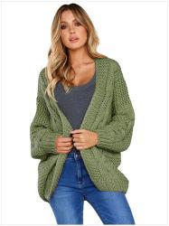 Maglione Long-Sleeved del reticolo di spirale di colore solido delle donne del commercio all'ingrosso della fabbrica della Cina