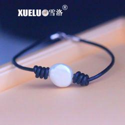 Cuir véritable pièce de monnaie d'eau douce Perles de culture naturelles Bracelet pour le commerce de gros