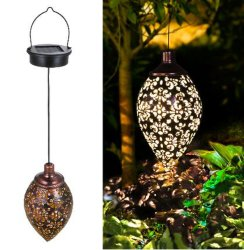 Metal decorativo exterior LED Lámpara de jardín de la forma de oliva Solar Powered Linterna colgantes luminosos de las decoraciones de patio patio