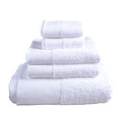 100% coton SPA Serviettes frontière Dobby Satin Serviette de l'hôtel