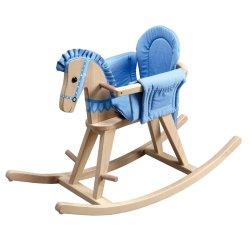 Rocking Horse en bois avec tampon Surrond naturel de la sécurité amovible / bleu
