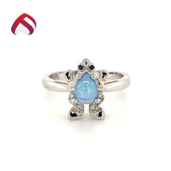 Novo Estilo 925 Sterling Silver Opal jóias Fashion Opal Anel de pedras com forma de rã