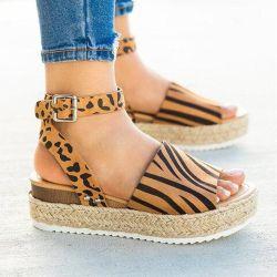 منصة Espadrilles للنساء ساندالز مزودة بقضبان من شريط الكاحل وقطع من الكاحل المفتوحة الأحذية الصيفية (ESG11828)