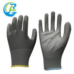 De super Geschikte Handschoen van het Werk van de Steekproef Grijze Pu van de Douane Vrije Plam Met een laag bedekte