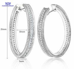 تصميم جديد مجوهرات الموضة 925 Sterling فضية كبيرة Hoop CZ حجر للبيع