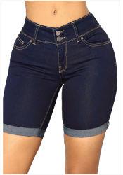 تخصيص السراويل النسائية السراويل القصيرة ذات الجودة العالية Dark Blue Dنيم Jeans