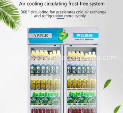 Gegenoberseite-Bierflasche-Saft-kaltes Getränk-vertikale Bildschirmanzeige-Getränkeschaukasten-Kühlvorrichtung