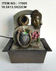 Buda Polyresin Escritorio figurita de fuente de agua Casa adornos
