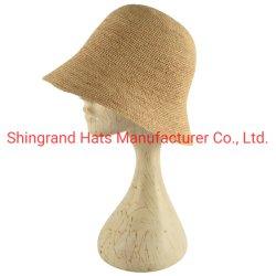 Raphia godet de la paille Hat pare-soleil personnalisé pour dames